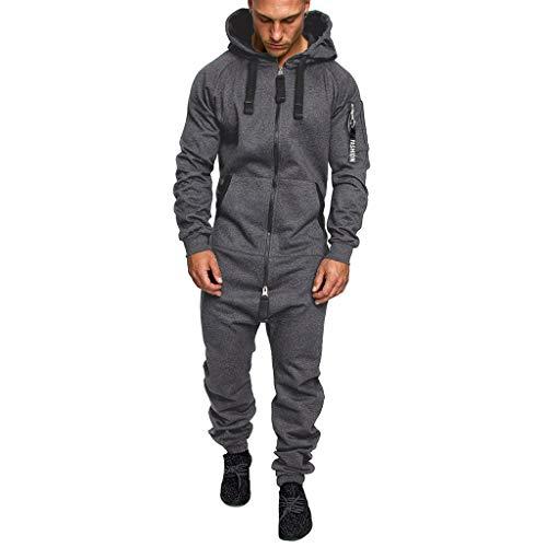 SUCCESS Herren Overall Jumpsuit Jogging Cargo-Style Onesie Trainingsanzug Hoodies Pyjama Camouflage Sportanzug mit Reißverschluss für Herbst und Winter (M, Dunkelgrau)