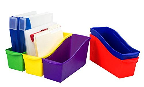 Price comparison product image Storex Industries 1512793 Interlocking Book Bins44; Assorted Colors - Set of 5