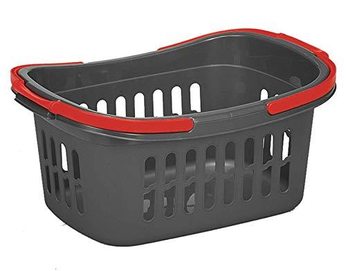 taschen-rucksack24 Einkaufskorb Plastik Kunststoff Korb 50 x 35 x 24 cm Grau