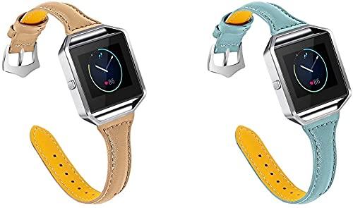 Chainfo Quick Release - Compatible con Fitbit Blaze Correas de Reloj Cuero (2-Pack H)