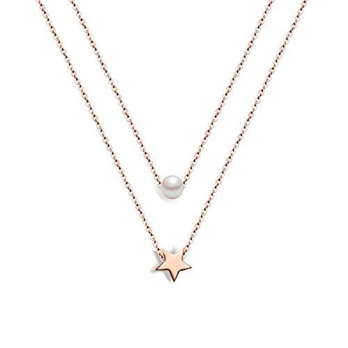 Damenhalskette aus Edelstahl von Muting, mit fünfzackigem Stern- und Perlenanhänger in roségold, Edelstahl Charmkette für Damen und Mädchen