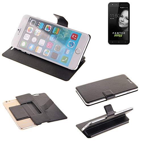 K-S-Trade® Handy Schutz Hülle Für FANTEC Boogy Flip Cover Handy Wallet Case Slim Bookstyle Schwarz