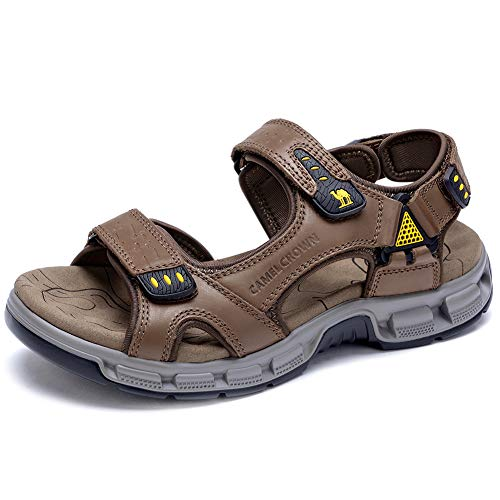 CAMEL CROWN Men's Sandals Summer Leather Open Toe Sandals Casual Strap Fisherman Sandals for Outdoor Hiking Walking Beach Brown, 11