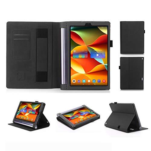 YEYOUCAI Para Lenovo YOGA Tab3 Plus 10 TB-X703F / Pro 10 TB-X90F Frosted Litchi Texture PU Horizontal Flip Funda de piel con soporte y ranuras para tarjetas y correa de mano