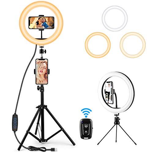 ANSODY LED Ring Light, 10-Zoll/26 cm Selfie Ringleuchte mit Stativ Ringlicht, 2 alternativen Stativen 2 Handyhalter mit 3 Farbe und 10 Helligkeitsstufen für Make-up, Live Stream, YouTube, Tik Tok Vlog