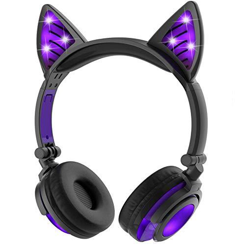 LIMSON Drahtlose Bluetooth-Kopfhörer über Ohr, Faltbare Nachladbare Katze-Ohr-Headsets mit Mic LED-Licht-Glühenden Kind-Headphones Compatible für Mobiltelefone, iPad, iPhone, Laptop, Computer (Lila)