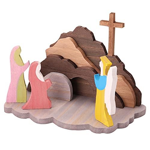 Zwbfu Decoração De Ressurreição De Páscoa Em Madeira,Decoração de ressurreição de madeira de Páscoa Decoração de madeira para cenas de Páscoa Decoração de Páscoa Conjunto de presépio de madeira