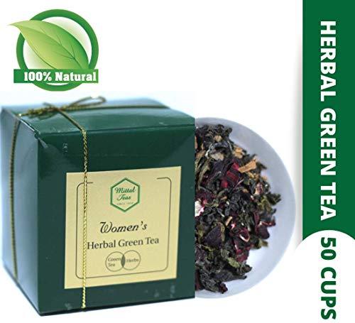 Mittal Teas Women's Herbal Green Tea Green Tea, Rose, Lavender, Cinnamon, Tulsi, Ashwagandha 50 Cups 100g Aromatherapy Stress reliever Prevent insomnia  Healthy Skin & Hair