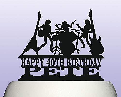 Ad4ssdu4 Personalisierte Acryl E-Gitarre Rock Band Musikinstrument Geburtstagstorte Topper Dekoration