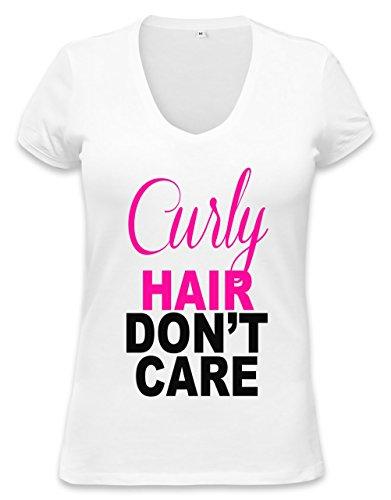 Curly Hair Slogan Womens V-neck T-shirt Medium