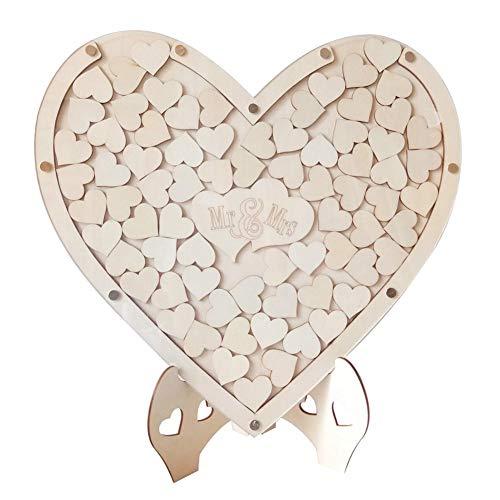 75 piezas de madera de amor, libro de visitas de boda, madera única de amor, material de suministro, decoración de mesa alternativa.