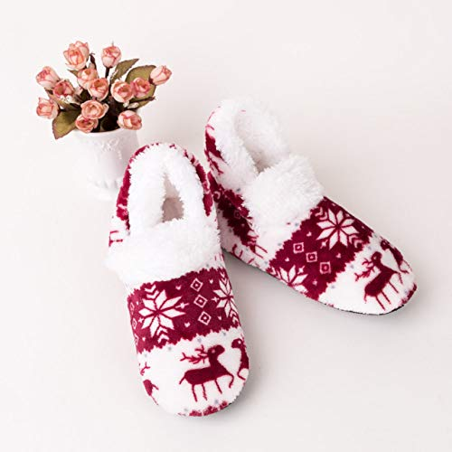 SZMRCA 2019 Women Winter Warm Socks Girls Bedroom Floor Sock Adult Non-slip Thermal Socks Slippers,Wine Red