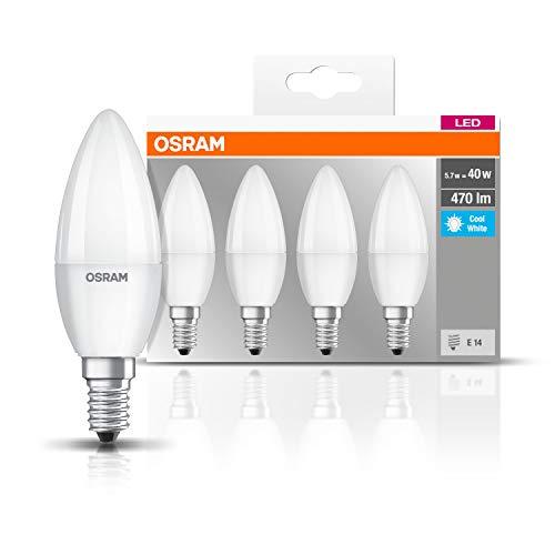 Osram LED Base Classic B Lampe, in Kerzenform mit E14-Sockel, nicht dimmbar, Ersetzt 40 Watt, Matt, Kaltweiß - 4000 Kelvin, 4er-Pack