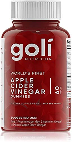 "Goli Nutrition Inc. World's First Apple Cider Vinegar Gummy Vitamins (60 Count, Organic, Vegan, Gluten-Free, Non-GMO, with""The Mother"""