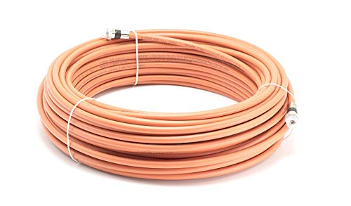THE CIMPLE CO - 150 Feet Direct Burial Coaxial Cable- Proudly Made in The USA RG6 Coax Cable Rubber Boot - Outdoor Connectors - (Orange) - Designed for Waterproof and to Be Burried