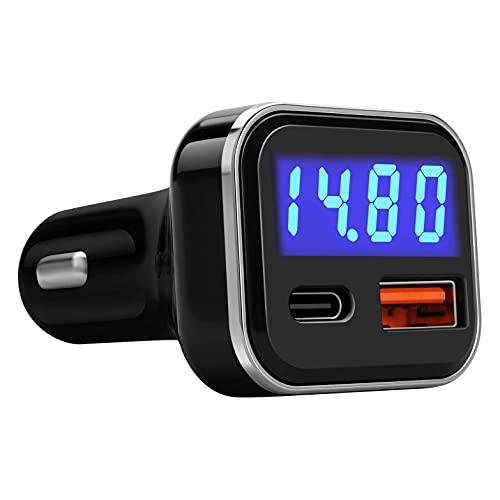 momok Cargador de AutomóVil USB C con Voltaje 30W Puerto Dual USB Tipo C Entrega de EnergíA 3.0 Carga RáPida 3.0 Adaptador para AutomóVil de Carga RáPida