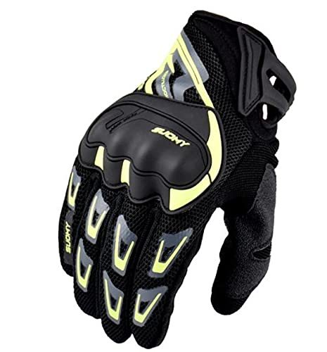 Motorbike Gloves Men Touch Screen Shockproof Motorcycle Gloves Summer Motocross Racing Gloves Retro Black S MLXLXXL-a48-L