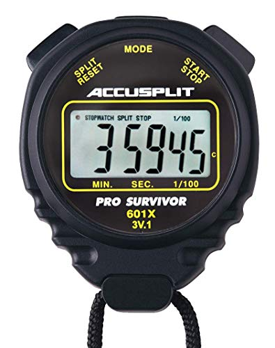 ACCUSPLIT Pro Survivor - A601XBK Stopwatch, Clock, Extra Large Display (Black)