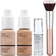 30ml Foundation Liquid Full Coverage 24HR Matte Oil Control Concealer (Nude & Buff Beige) with 6ml M...