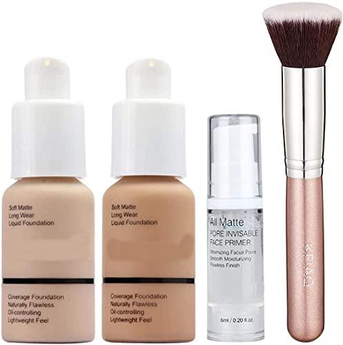 30ml Concealer Cover Flüssigmatt Full Coverage Concealer (Nude & Buff Beige) mit Make up Primer & Make-Up Pinsel Kabuki Schminkpinsel