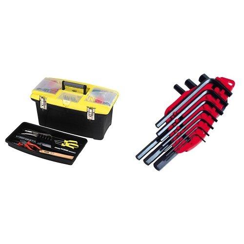 Stanley 1-92-905 - Caja de herramienta Jumbo con bandeja, 40 cm + 0-69-253 - Juego 10 llaves 1,5-10mm - o libro -
