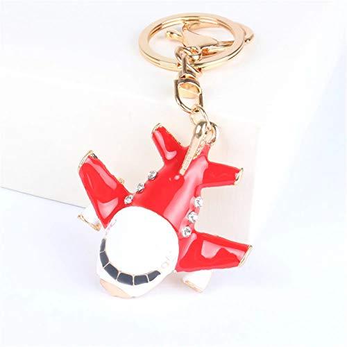 JINGRU Llavero,Anillo de Llavero de Cristal de Diamantes de imitación con Colgante de avión de avión Rojo para Bolso de Mano Carkey