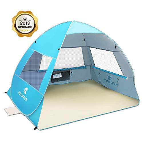 SGODDE Large Pop Up Beach Tent 2019 New Anti UV Sun Shelter Tents Portable Automatic Baby Beach Tent Instant Easy Outdoor Cabana for 3-4 Persons for Family Adults