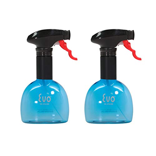 Evo Oil Sprayer Bottle, Non-Aerosol for Olive Oil and Cooking Oils, Blue, 8-ounce Capacity, Set of 2