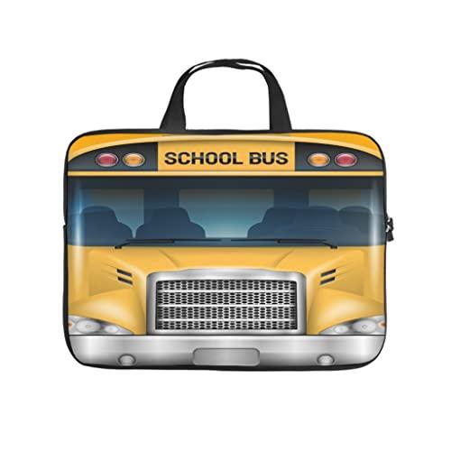 Facbalaign Funda para portátil con diseño de autobús escolar, suave, resistente al desgaste, con asa., blanco, 10 pulgadas,