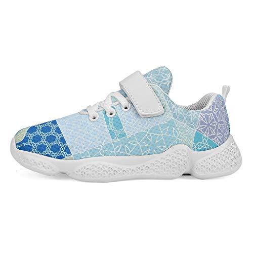 YxueSond Geometry - Zapatos deportivos de cuña para gimnasio, correr, cómodos, para niña, Infantil, blanco, 34