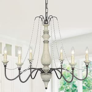 Lampundit 6-Light Farmhouse Chandelier with Crystal Beads, French Country Chandelier for Dining Room, Foyer, Living Room, Kitchen Island, Bedroom, Iron Rust Brown & Silver White Finish