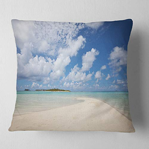 Designart Serene Maldives Beach Under Clouds Seascape Throw Living Room Sofa Pillow Insert Cushion Cover Printed On Both Side 26 In X 26 In Shefinds