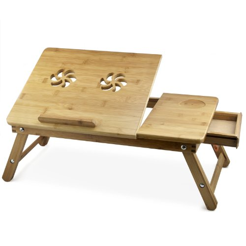 Eshion gioielli fiore bambù pieghevole portatile computer portatile per scrivania letto tavolo lavoro di vassoio