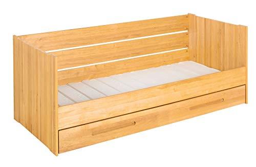 BioKinder Lina Schlafsofa Funktionsbett Gästebett mit Matratzen-Bettkasten und 2 Lattenrosten aus Massivholz Erle 90 x 200 cm