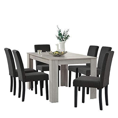 [en.casa] Set de Comedor Elegante Mesa de diseno Roble con 6 sillas Gris Oscuro - 140x90cm