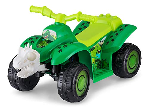 Kid Trax Toddler Dinosaur Quad Kids Ride On Toy, 6 Volt Battery, 1.5-3 Years Old, Max Weight of 44 lbs, Single Rider, Green (KT1592AZ)
