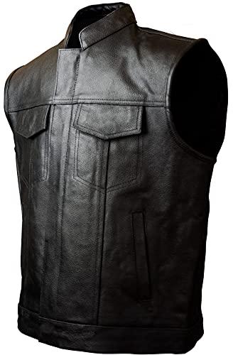 Iguana Custom Chaleco SOA de cuero negro de estilo motero fabricado en autentica Piel perfecto para parches de clubs o free biker, como el que usan en Sons of Anarchy