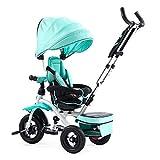 NUBAO Triciclo fácil plegable para padres e hijos, bicicleta de bebé, azul,...