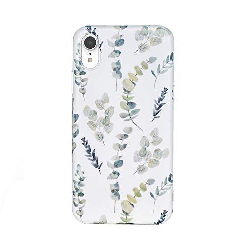 HolaStar Compatible con iPhone XR Funda, Retro Minimalista Tropical Verde Hojas de otoño Diseño Floral Delgado Anti arañazos Carcasa Protectora de Silicona Suave para teléfono Celular