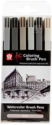 Sakura XBR-6 Koi Coloring Brush Pen Gray-Set, 6 Pinselstifte