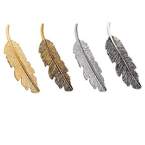 4 Stück Metall Feder Blatt Haarklammern Vintage Blatt förmigen Haarspangen Haarschmuck Kopfschmuck Haar Zubehör, Feder Haarspangen - 9,5 × 2,5 cm (Gold + Vintage Gold + Silber + Vintage Silber)