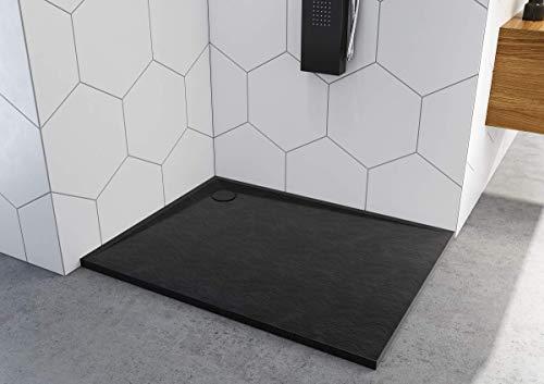 Duschtasse Schwarz Quadrat Rechteck Viertelkreis Stein-Effekt Duschwanne Black (90x140x3)
