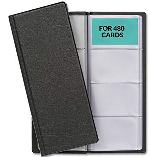 Portabiglietti da Visita con 480 Bustine - Card Organizer da Tavolo per Bigliettini, Tessere, Carte - Salvaspazio