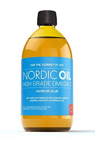 Nordic Oil Huile de poisson à haute teneur en oméga-3, bouteille de 500 ml. Produit goût citron testé et approuvé.