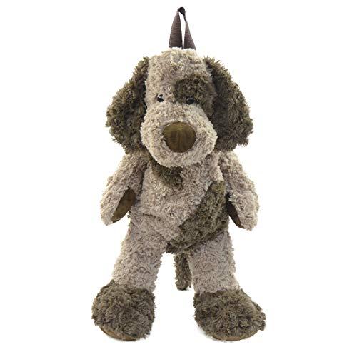Kögler 85415 Pluche rugzak, voor kinderen, hond, pluizig zacht, met draaggreep en in lengte verstelbare draagriem, ca. 60 cm groot, voor jongens en meisjes, bruin/donkerbruin.