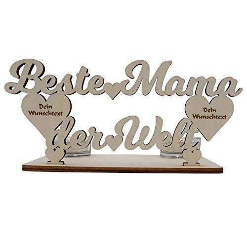 Beste Mama der Welt Geschenke Teelichthalter mit Gravur personalisiert I Zum Geburtstag Geburtstagsgeschenk Muttertag Tischdeko Wohnzimmer