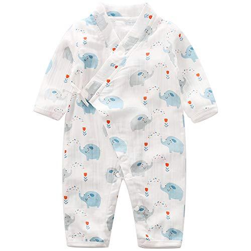 Baby Kimono Romper Cotton Yarn Robe Newborn Infant Bodysuit Summer Japanese Pajamas (6-9M, Elephantidae)