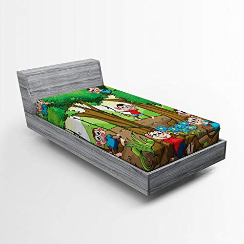 Ambesonne Nursery Fitted Sheet, Children Kid Apes Monkeys Playing in Exotic Forest with Big Trees and Daisy Blooms, Soft Decorative Fabric Bedding All-Round Elastic Pocket, Twin Size, Green Brown