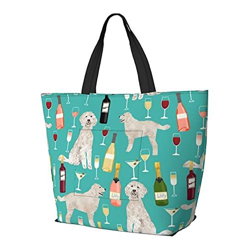 Bolsa de hombro multifuncional de gran capacidad, bolso Doodle Golden Doodle Wine Beer Drinks Dog Turquoise Lightweight Travel Bag Beach Bag for Women Gym Hiking Picnic Travel