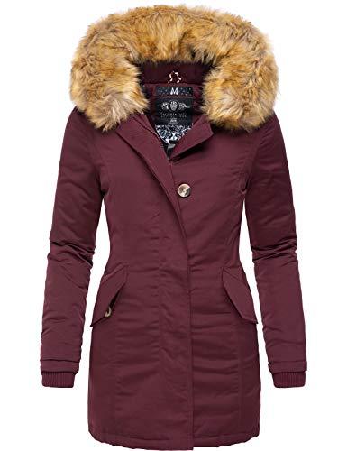 Marikoo Damen Winter Mantel Winterparka Karmaa Weinrot Gr. S